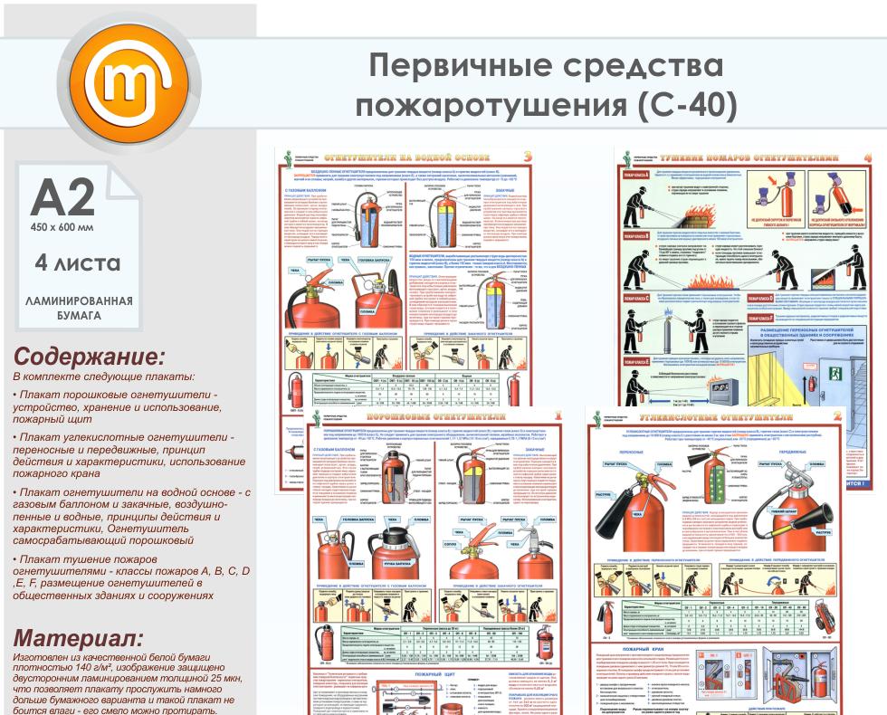 картинки плакаты первичные средства пожаротушения